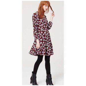 Super Cute Loft Dress - Size 8 - Maroon Floral